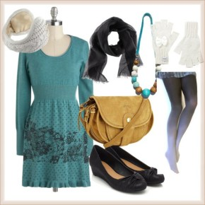 teal dress, white gloves, scarves