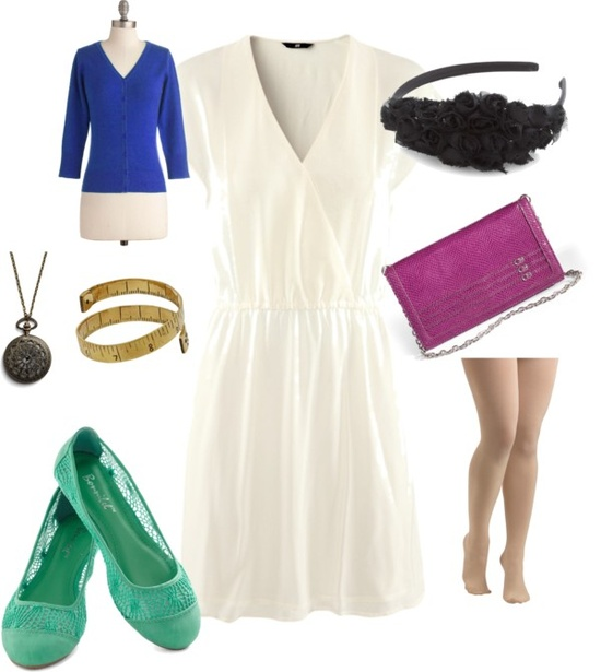teal flats, white dress, hm, modcloth, blue cardigan, white house black market, berry clutch