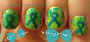 nail art, teal ribbon nail art