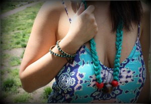 macrame necklace, teal necklace, teal bracelet, arcadia boutique