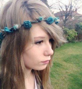 teal hair wreath, teal headband, teal hairwrap, teal flowers, teal flower headband