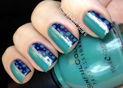 teal nail art, teal nails